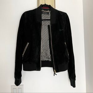 GUCCI Suede Leather Black Bomber Jacket